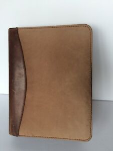 Brown Suede Leather Franklin Covey Quest Planner Binder Euc
