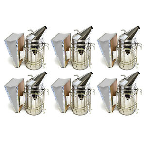 Set Of 6 Bee Hive Smoker Stainless Steel With Heat Shield Beekeeping Equipment