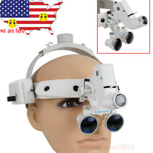 3 5x 280 380mm Medical Surgical Dental 2in1 Binocular Loupes Led Headlight Lamp