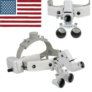3 5x Dental Loupes Surgical Binocular Glass Magnifier Led Headlight Headband Usa