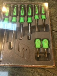 New Snap On Instinct Green Soft Handled 8piece Screwdriver Set Sgdx80bg Sealed