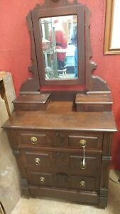Antique Childs Victorian 1890 S Walnut 3 Drawer Dresser With Hankerchief Box