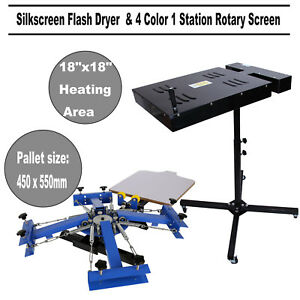 18 X 18 Flash Dryer Silk Screen Printing 4 Color 1 Station Press Machine