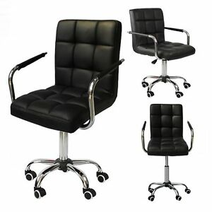Modern Office Leather Chair Hydraulic Swivel Executive Computer Desk Black