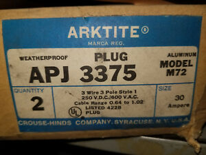 Nos Box Of 2 Crouse hinds Apj 3375 30a 600v 3w 3p Style 1 Arktite Plug M72 Read