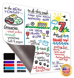 Magnetic Dry Erase Whiteboard Sheet For Kitchen Fridge With Stain Resistant Te