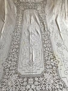 Amazing Antique Linen Hand Made Bobbin Lace Rectangle Tablecloth 105 65 Inches