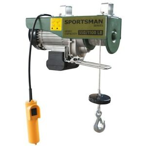 Sportsman Electric Game Hoist 1 2 ton Automatic Braided Carbon Steel Cable