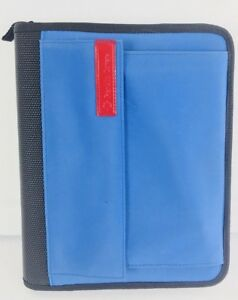 Franklin Covey Cl 12215 7 ring Black Blue Zip Around Organizer Planner Binder