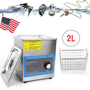 2l Ultrasonic Cleaner Bath For Cleaning Jewelry Glasses Dental W Timer Basket