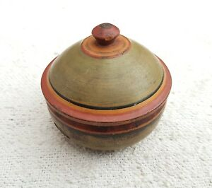Old Early Handmade Red Yellow Black Green Lacquer Paint Dome Shape Wooden Box