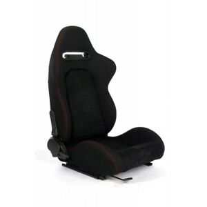 Cipher Auto Black Fabric W microsuede red Stitching Universal Racing Seats Pair