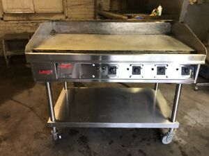 Lang 48 Used Commercial Thermostatic Electric Gridde Flat Top Grill Commercial