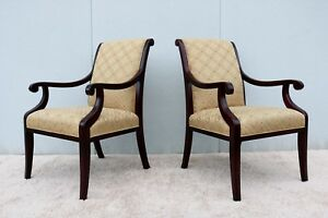 Stunning Vintage French Style High Back Pair Of Accent Armchairs Made By Hbf