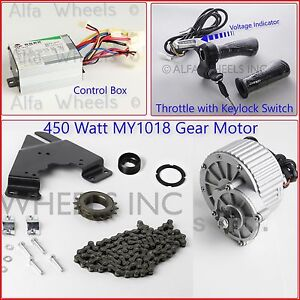 450w 24v 13t Electric Bicycle Motor Conversion Kit W Control Keyed Throttle