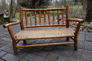 Old Hickory Lodge Furniture Child S Bench W Cane Seat In Prison Made We Ship