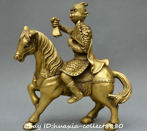 Collect Chinese Fengshui Old Bronze Handsome Monkey King Ride Horse Lucky Statue