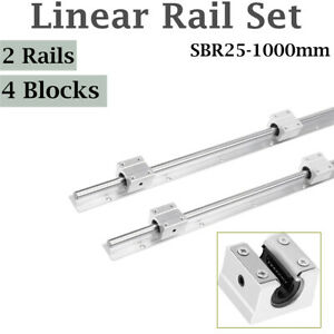2pcs Shaft Rod Sbr25 1000 Linear Rail Slide Guide Fully Supported 4 Sbr25uu