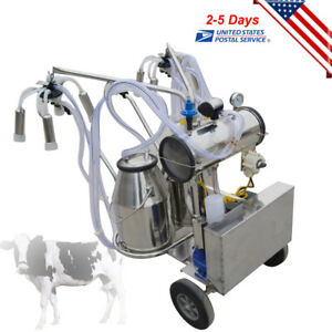 Double Tank Cow Milker Electric Piston Milking Machine For Cows Farm Bucket 110v