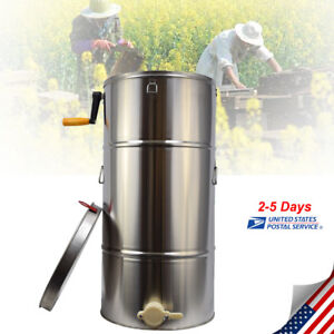 2 Frame Stainless Steel Bee Honey Extractor Honeycomb Drum Beekeeping Equipment