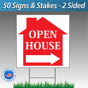 50 Signs 12x12 Open House Directional Signs Corrugated Plastic Free Stakes R