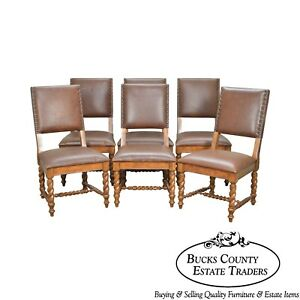 Barley Twist Set Of 6 Brown Leather Dining Chairs By Stanley