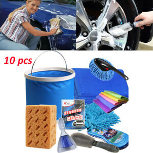10x Multifunction Car Hand Wash Flow Foam Brush Sponge Towel Cleaning Kit Tools