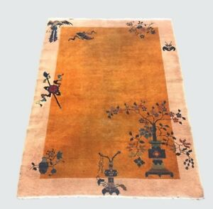 Antique Chinese Art Deco Carpet Rug With Very Rare Gold Program