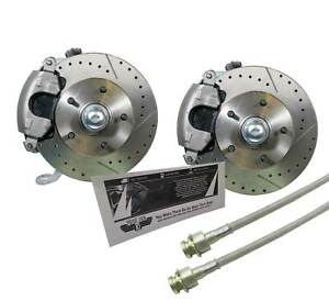 64 72 Gm A F X Body Front Disc Brake Conversion Kit Cross Drilled Slotted Rotors