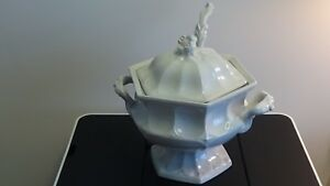 Red Cliff White Ironstone Heirloom Tureen Ladle Vintage