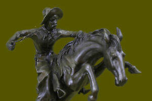 100 Bronze Statue Remington Bronze Cowboy W Horse Sculpture Bronco Buster Eg