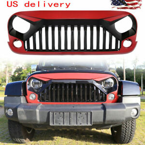 Painted Gladiator Vader Gloss Black And White Grill For Jeep Wrangler 07 17