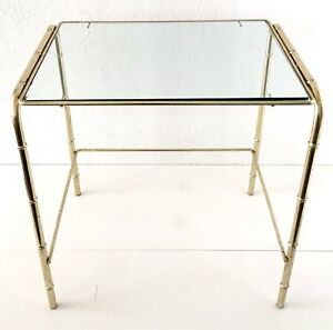 Gold Metal Bamboo Table End Side Plant Stand Glass Mcm Hollywood Regency