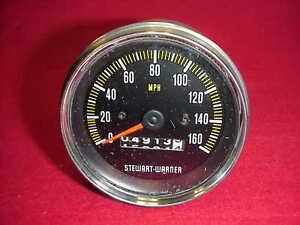 Vintage Stewart Warner Speedometer Speedo Mechanical 160mph Rat Street Rod Chevy