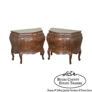 Italian Walnut Pair Of Bombe Commodes Nightstands Chests