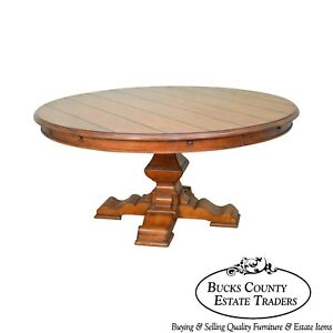 Rustic Large 64 82 Round Pedestal Dining Table By Stanley