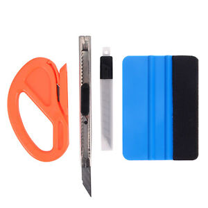 4in1 Vinyl Felt Squeegee Wrapping Tools Kit Knife 10 Blades Window Tinting Us