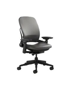 Steelcase Leap Chair Leather 4 way Adjustable Arms Adjustable Lumbar Support
