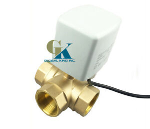 New G1 1 2 Dn40 3 Way Brass 220vac Motorized Ball Valve T Type Electrical Valve