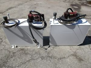 2 Used Hd Vertical Fuel Transfer Tanks With Fill rite Electric Pumps hose nozzle