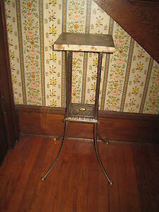Antique Marble Top Table With Brass Iron Stand