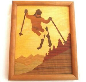 Marquetry 1989 Wood Picture Of Skier 9x11 W Frame High Quality Mint