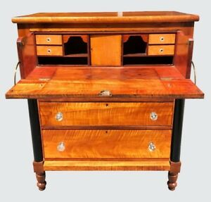 19th C Federal Period Antique Tiger Maple Butlers Desk Chest Pennsylvania