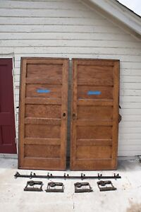 Set Antique 5 Panel Pocket Doors Door Double Rollers Track 84x36 1910 Salvage