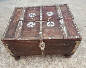 Old Early Scarce Primitive Hand Carved Money Treasure Chest Wooden Box