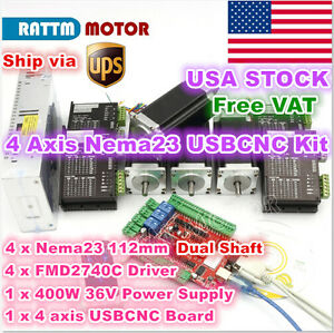 usa 4 Axis Nema23 112mm Stepper Motor Dual Shaft 425oz in Cnc driver Usbcnc Kit