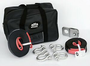 Blk 8000lbs Atv Utv 4t Winch Recovery Kit Snatch Block Bow Shackle Strap Bag 8pc