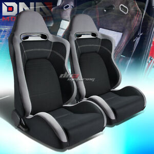X2 Type r Black gray Fully Reclinable Sports Deep Racing Seat seats slider Set