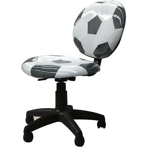 Kids Computer Desk Table Soccerball Sports Armless Swivel Office Chair Furniture