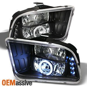 Fits 2005 2009 Mustang Shellby Gt500 Ccfl Halo Projector Led Black Headlights